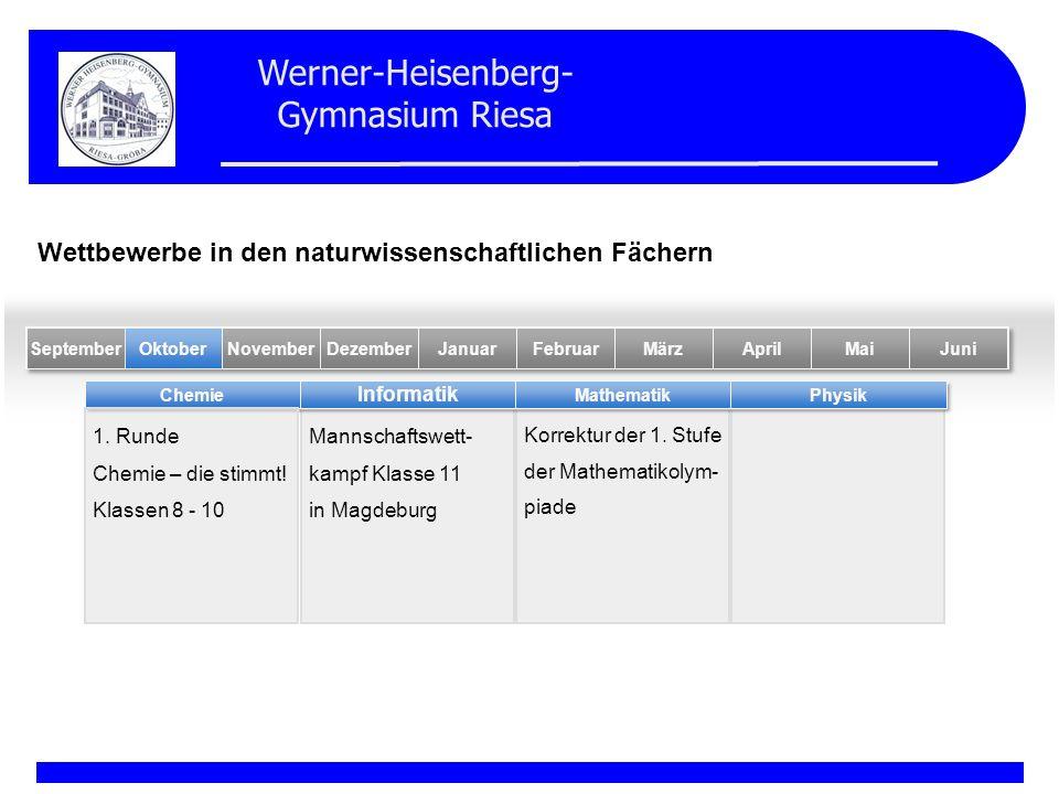 Werner-Heisenberg- Gymnasium Riesa Mannschaftswett- kampf Klasse 11 in Magdeburg Korrektur der 1. Stufe der Mathematikolym- piade Chemie Informatik Ma