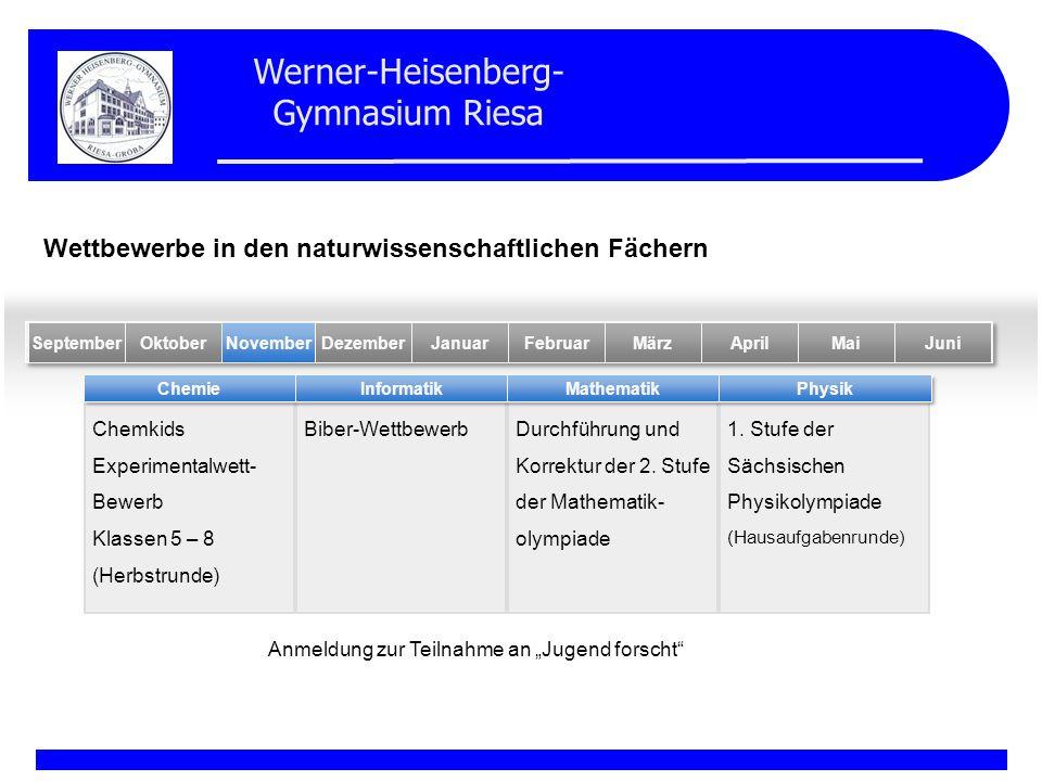 Werner-Heisenberg- Gymnasium Riesa Chemkids Experimentalwett- Bewerb Klassen 5 – 8 (Herbstrunde) Biber-WettbewerbDurchführung und Korrektur der 2. Stu