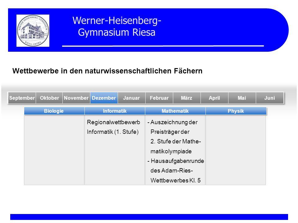 Werner-Heisenberg- Gymnasium Riesa Regionalwettbewerb Informatik (1. Stufe) - Auszeichnung der Preisträger der 2. Stufe der Mathe- matikolympiade - Ha