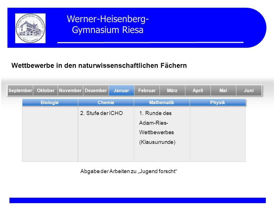 Werner-Heisenberg- Gymnasium Riesa 2. Stufe der ICHO BiologieChemieMathematikPhysik MaiFebruarOktober Januar NovemberDezemberSeptemberMärzAprilJuni We