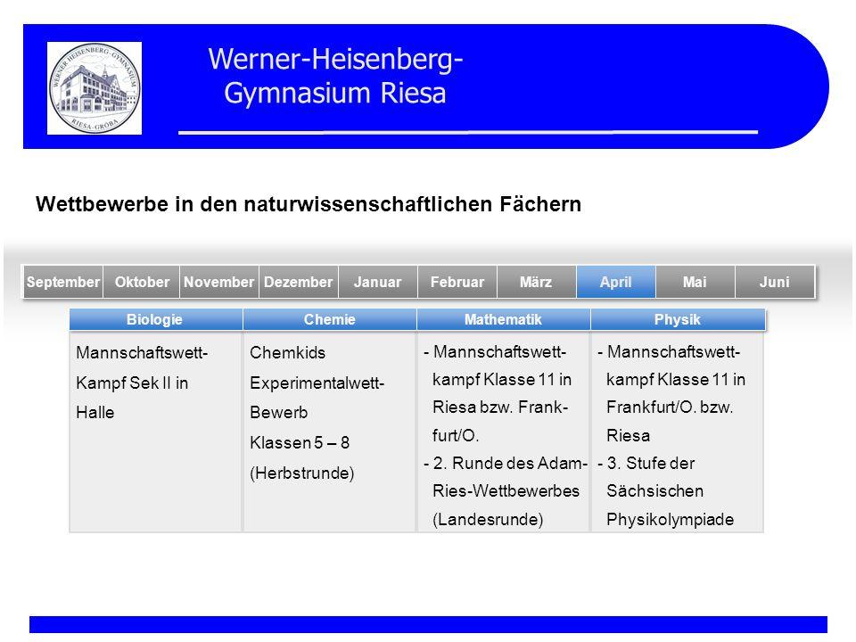 Werner-Heisenberg- Gymnasium Riesa Mannschaftswett- Kampf Sek II in Halle Chemkids Experimentalwett- Bewerb Klassen 5 – 8 (Herbstrunde) - Mannschaftsw