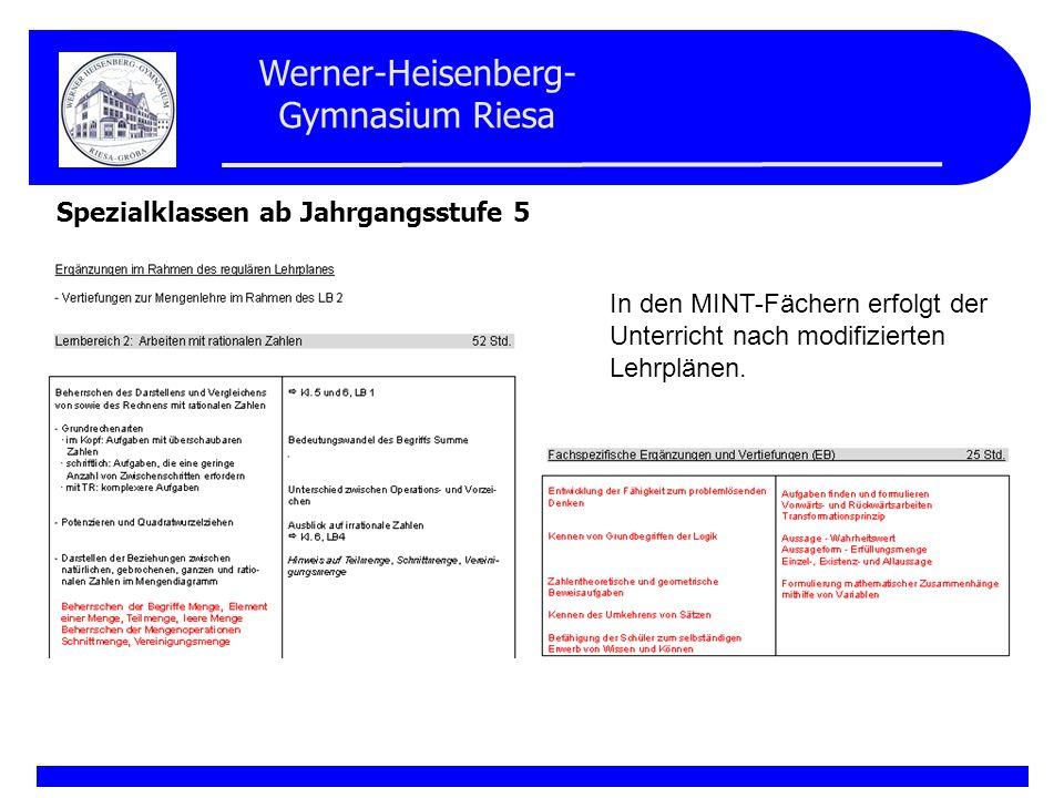 Werner-Heisenberg- Gymnasium Riesa Spezialklassen ab Jahrgangsstufe 5 In den Jahrgangsstufen 5 und 6 erhalten die Schüler der vertieften Ausbildung anstelle des Förderunterrichts für lernschwache Schüler wahlobligatorischen Unterricht (WOU) in Mathematik, Physik oder Biologie als Gruppenunterricht in Schülergruppen bis ca.
