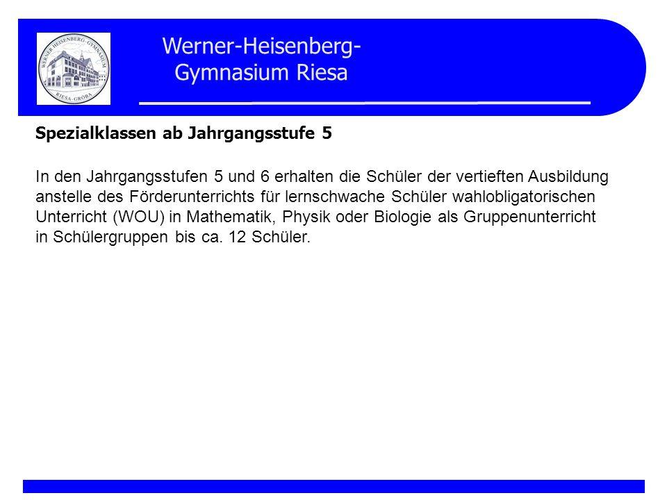 Werner-Heisenberg- Gymnasium Riesa Spezialklassen ab Jahrgangsstufe 5 In den Jahrgangsstufen 5 und 6 erhalten die Schüler der vertieften Ausbildung an