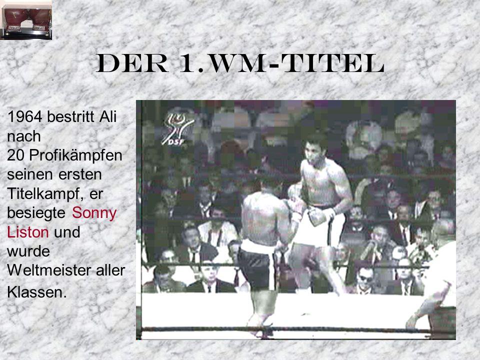 DER 1.WM-TITEL 1964 bestritt Ali nach 20 Profikämpfen seinen ersten Titelkampf, er besiegte Sonny Liston und wurde Weltmeister aller Klassen.