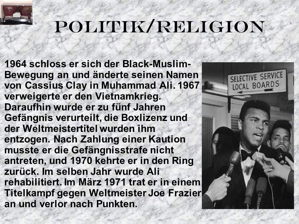 1964 schloss er sich der Black-Muslim- Bewegung an und änderte seinen Namen von Cassius Clay in Muhammad Ali.