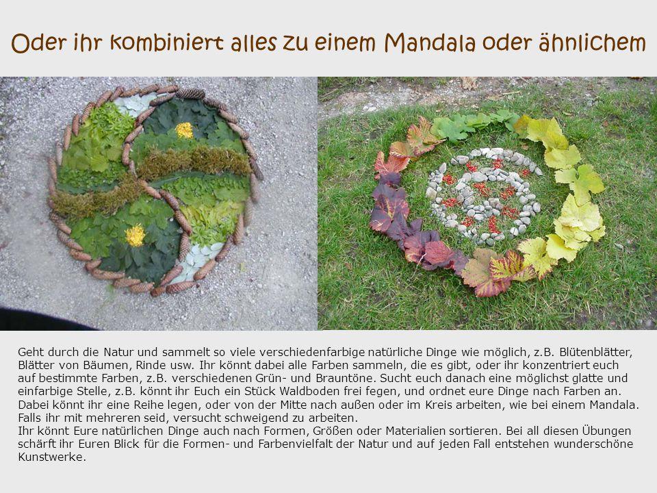Oder ihr kombiniert alles zu einem Mandala oder ähnlichem Geht durch die Natur und sammelt so viele verschiedenfarbige natürliche Dinge wie möglich, z