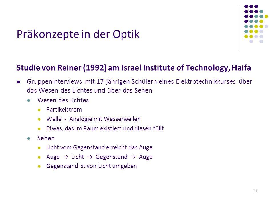 18 Präkonzepte in der Optik Studie von Reiner (1992) am Israel Institute of Technology, Haifa Gruppeninterviews mit 17-jährigen Schülern eines Elektro