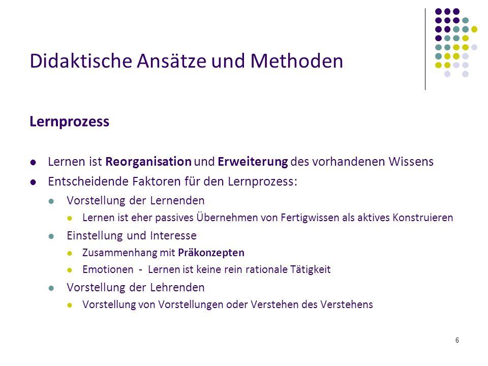 6 Didaktische Ansätze und Methoden Lernprozess Lernen ist Reorganisation und Erweiterung des vorhandenen Wissens Entscheidende Faktoren für den Lernpr