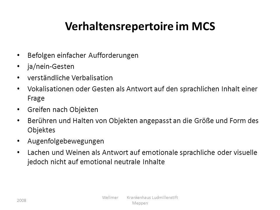 Verhaltensrepertoire im MCS Befolgen einfacher Aufforderungen ja/nein-Gesten verständliche Verbalisation Vokalisationen oder Gesten als Antwort auf de
