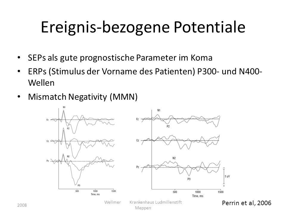 Ereignis-bezogene Potentiale SEPs als gute prognostische Parameter im Koma ERPs (Stimulus der Vorname des Patienten) P300- und N400- Wellen Mismatch N