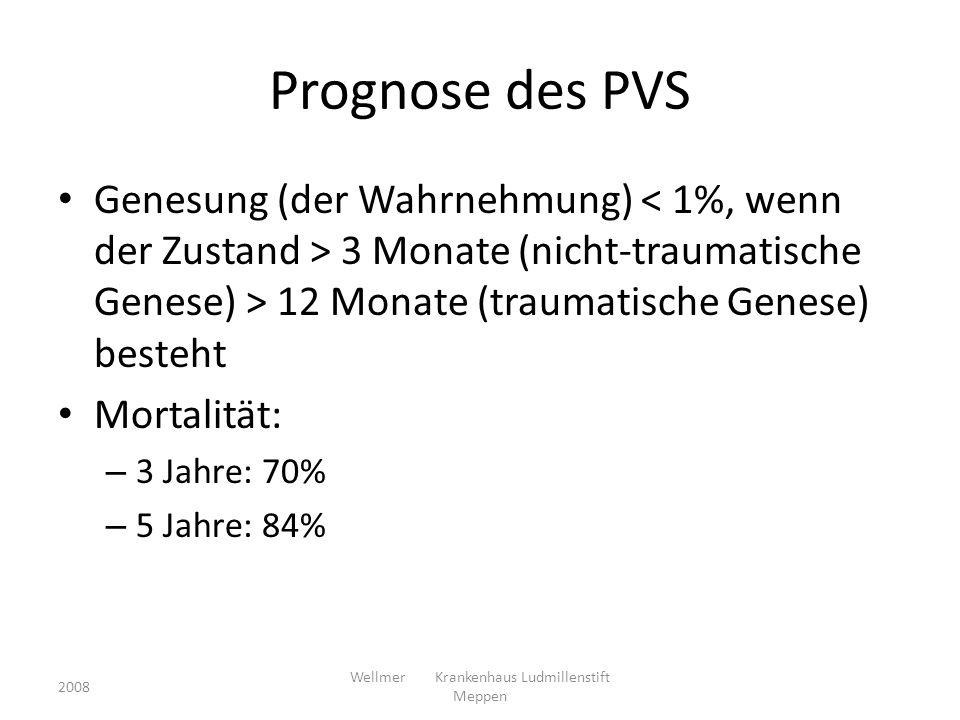 Prognose des PVS Genesung (der Wahrnehmung) 3 Monate (nicht-traumatische Genese) > 12 Monate (traumatische Genese) besteht Mortalität: – 3 Jahre: 70%