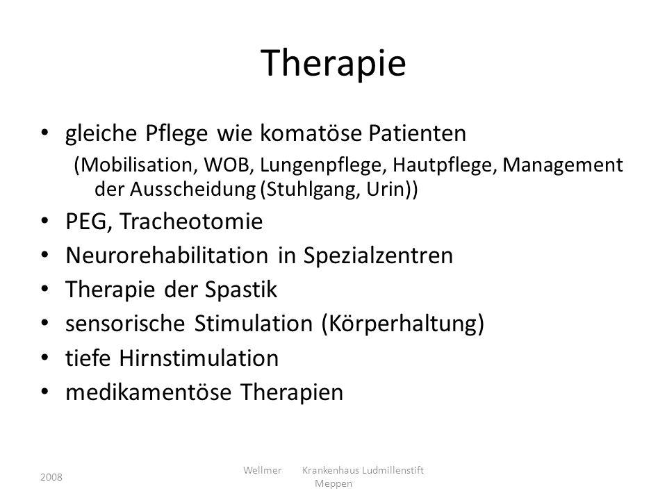 Therapie gleiche Pflege wie komatöse Patienten (Mobilisation, WOB, Lungenpflege, Hautpflege, Management der Ausscheidung (Stuhlgang, Urin)) PEG, Trach