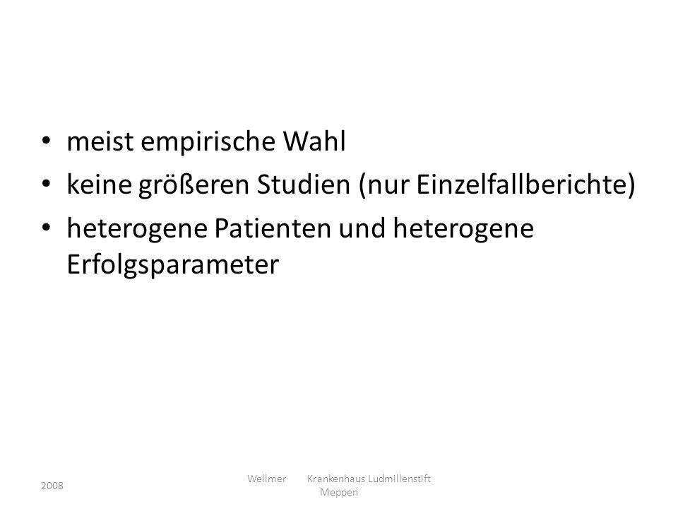 meist empirische Wahl keine größeren Studien (nur Einzelfallberichte) heterogene Patienten und heterogene Erfolgsparameter 2008 Wellmer Krankenhaus Lu