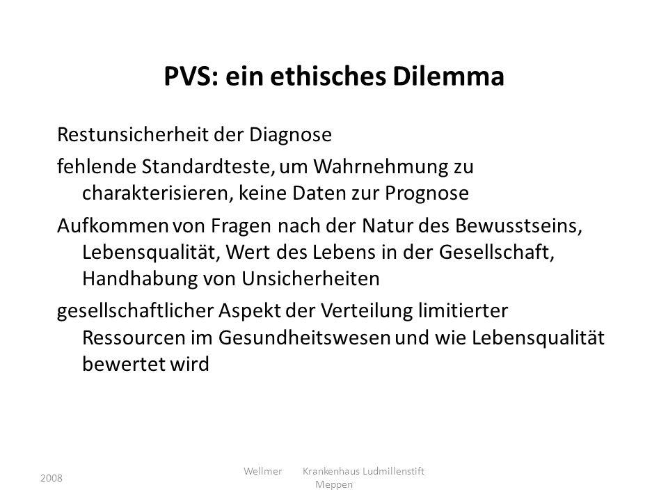 PVS: ein ethisches Dilemma Restunsicherheit der Diagnose fehlende Standardteste, um Wahrnehmung zu charakterisieren, keine Daten zur Prognose Aufkomme