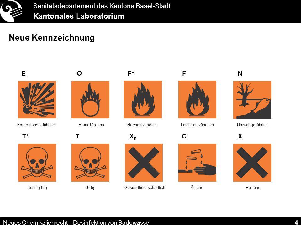 Sanitätsdepartement des Kantons Basel-Stadt Kantonales Laboratorium Neues Chemikalienrecht – Desinfektion von Badewasser 4 E Explosionsgefährlich F+F+ Hochentzündlich F Leicht entzündlich O Brandfördernd T+T+ Sehr giftig T Giftig XnXn Gesundheitsschädlich C Ätzend XiXi Reizend N Umweltgefährlich Neue Kennzeichnung