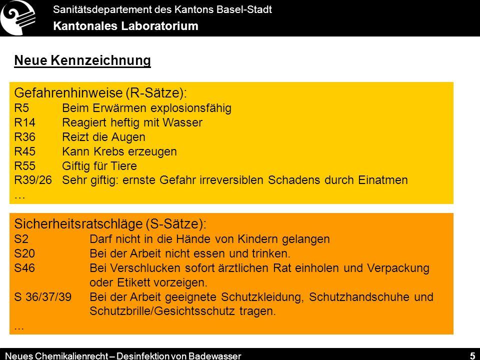 Sanitätsdepartement des Kantons Basel-Stadt Kantonales Laboratorium Neues Chemikalienrecht – Desinfektion von Badewasser 5 Neue Kennzeichnung Gefahrenhinweise (R-Sätze): R5 Beim Erwärmen explosionsfähig R14 Reagiert heftig mit Wasser R36 Reizt die Augen R45 Kann Krebs erzeugen R55 Giftig für Tiere R39/26 Sehr giftig: ernste Gefahr irreversiblen Schadens durch Einatmen … Sicherheitsratschläge (S-Sätze): S2Darf nicht in die Hände von Kindern gelangen S20Bei der Arbeit nicht essen und trinken.