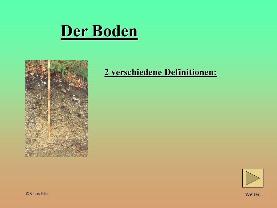 Weiter…Zurück… Teilchengröße und Bodeneigenschaften: schlechtWasserspeicherunggut Durchlüftungschlecht Sandboden große Teilchen Tonboden feine Teilchen