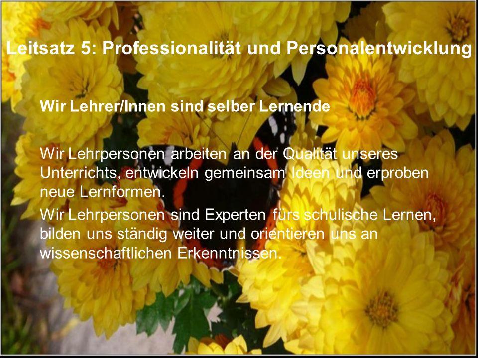 Leitsatz 5: Professionalität und Personalentwicklung Wir Lehrer/Innen sind selber Lernende Wir Lehrpersonen arbeiten an der Qualität unseres Unterrich