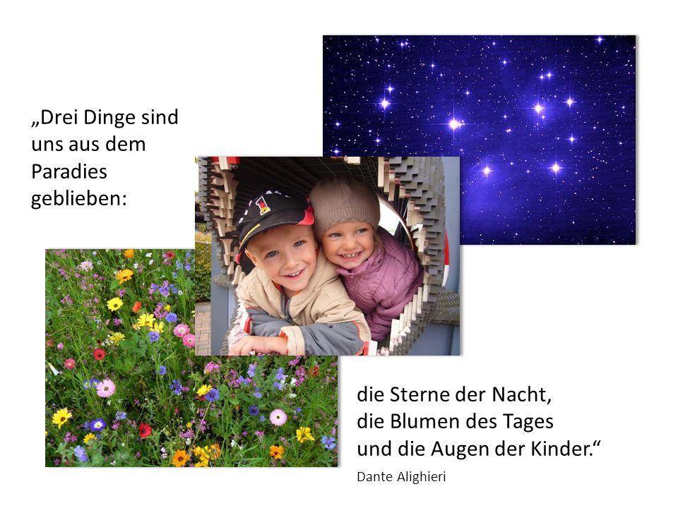 Drei Dinge sind uns aus dem Paradies geblieben: die Sterne der Nacht, die Blumen des Tages und die Augen der Kinder. Dante Alighieri