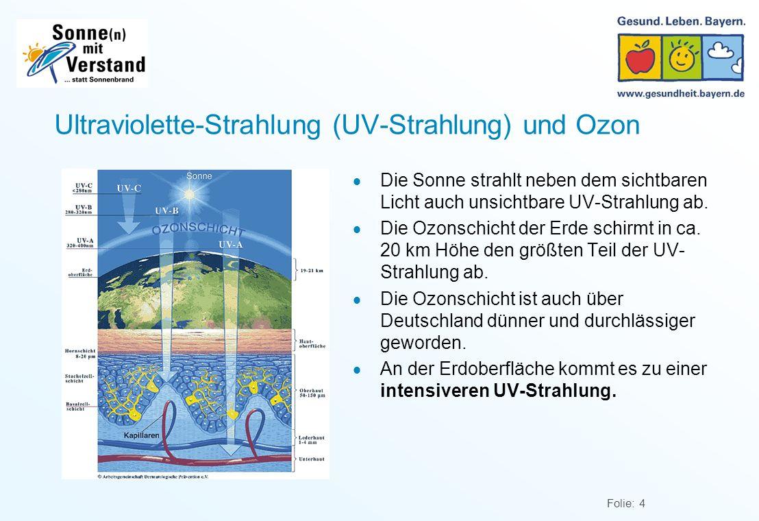 Folie: 4 Ultraviolette-Strahlung (UV-Strahlung) und Ozon Die Sonne strahlt neben dem sichtbaren Licht auch unsichtbare UV-Strahlung ab.