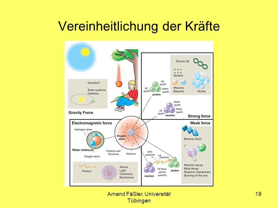 Amand Fäßler, Universität Tübingen 19 Vereinheitlichung der Kräfte