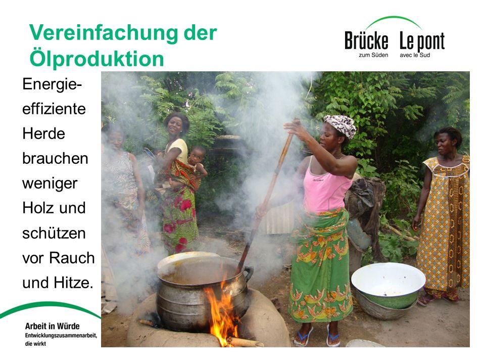 Vereinfachung der Ölproduktion Energie- effiziente Herde brauchen weniger Holz und schützen vor Rauch und Hitze.