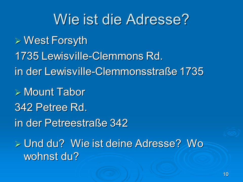 Wie ist die Adresse? West Forsyth West Forsyth 1735 Lewisville-Clemmons Rd. in der Lewisville-Clemmonsstraße 1735 Mount Tabor Mount Tabor 342 Petree R