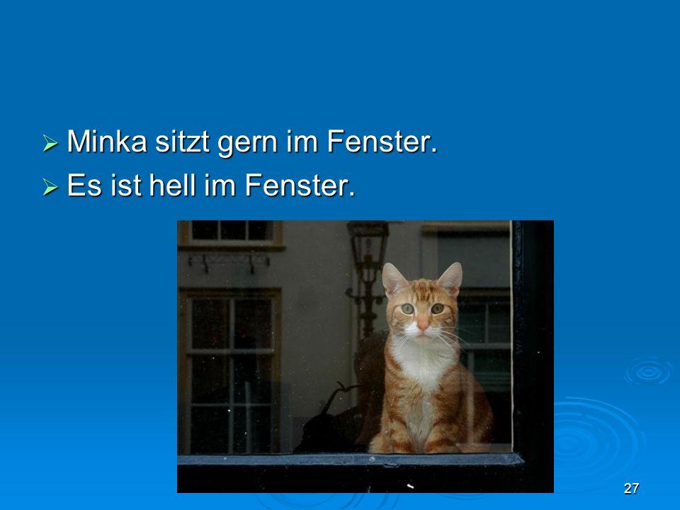 Minka sitzt gern im Fenster. Minka sitzt gern im Fenster. Es ist hell im Fenster. Es ist hell im Fenster. 27