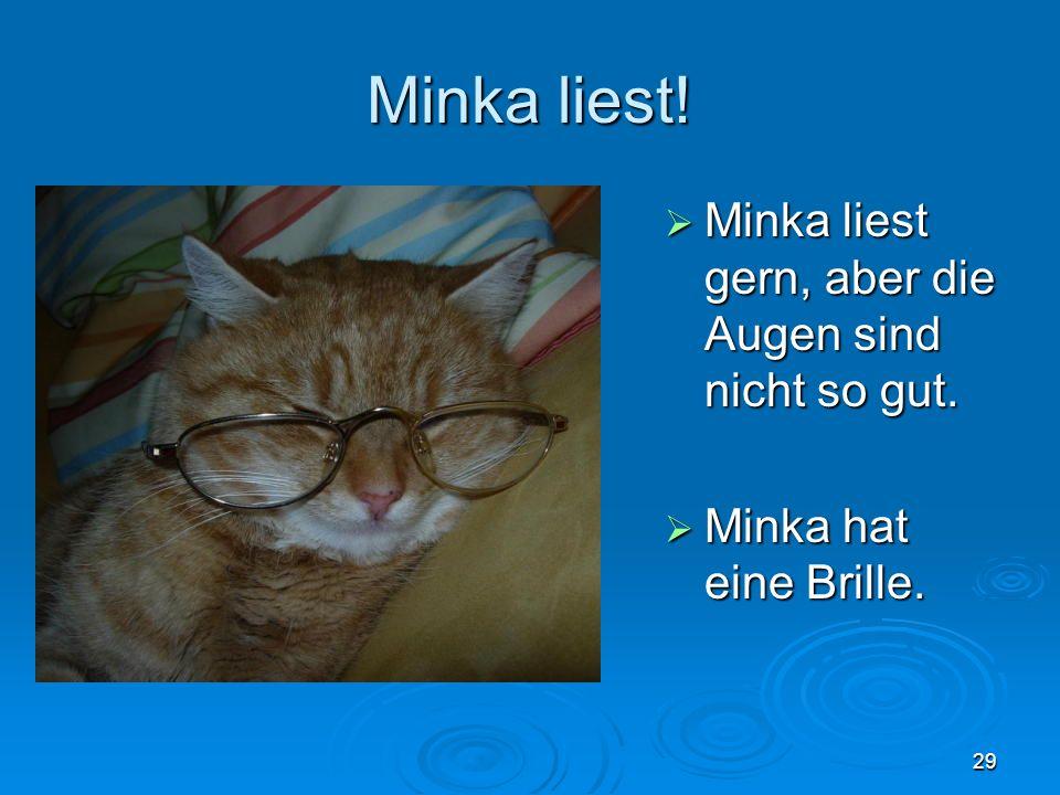 Minka liest! Minka liest gern, aber die Augen sind nicht so gut. Minka liest gern, aber die Augen sind nicht so gut. Minka hat eine Brille. Minka hat