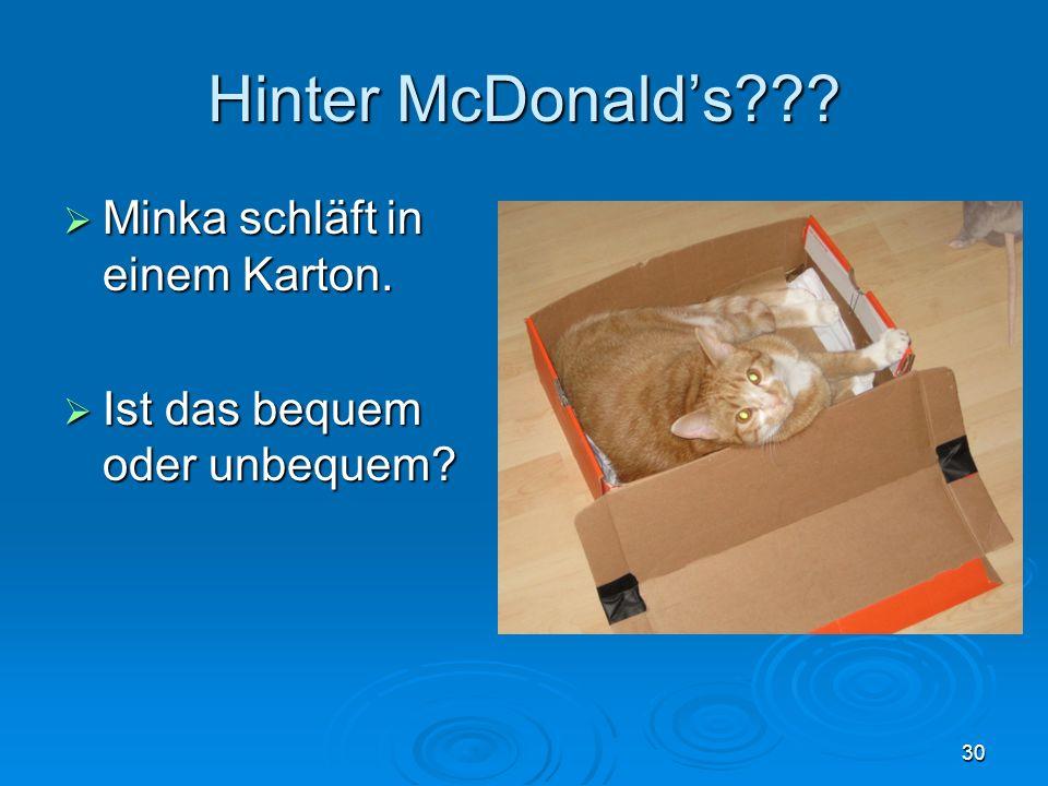 Hinter McDonalds??? Minka schläft in einem Karton. Minka schläft in einem Karton. Ist das bequem oder unbequem? Ist das bequem oder unbequem? 30