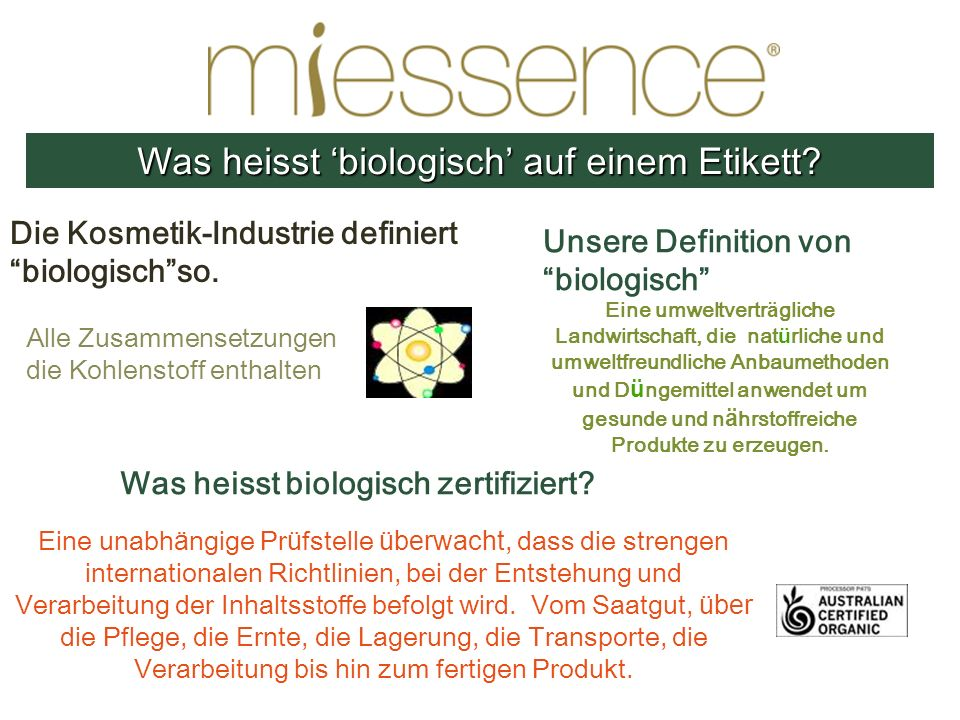 Unsere Definition von biologisch Eine umweltvertr ä gliche Landwirtschaft, die nat ü rliche und umweltfreundliche Anbaumethoden und D ü ngemittel anwe