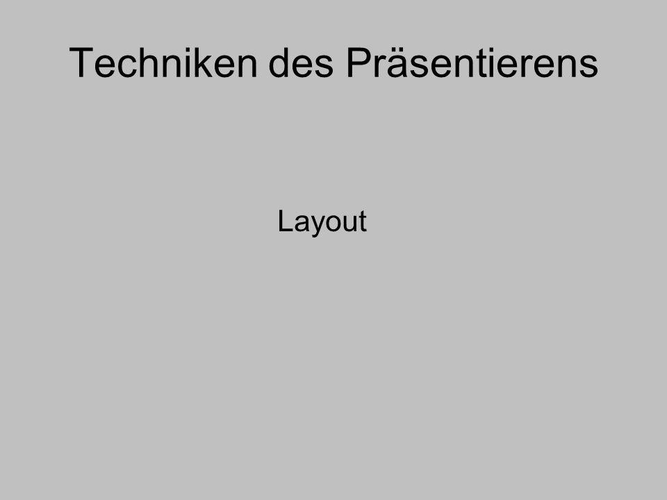 Techniken des Präsentierens Layout
