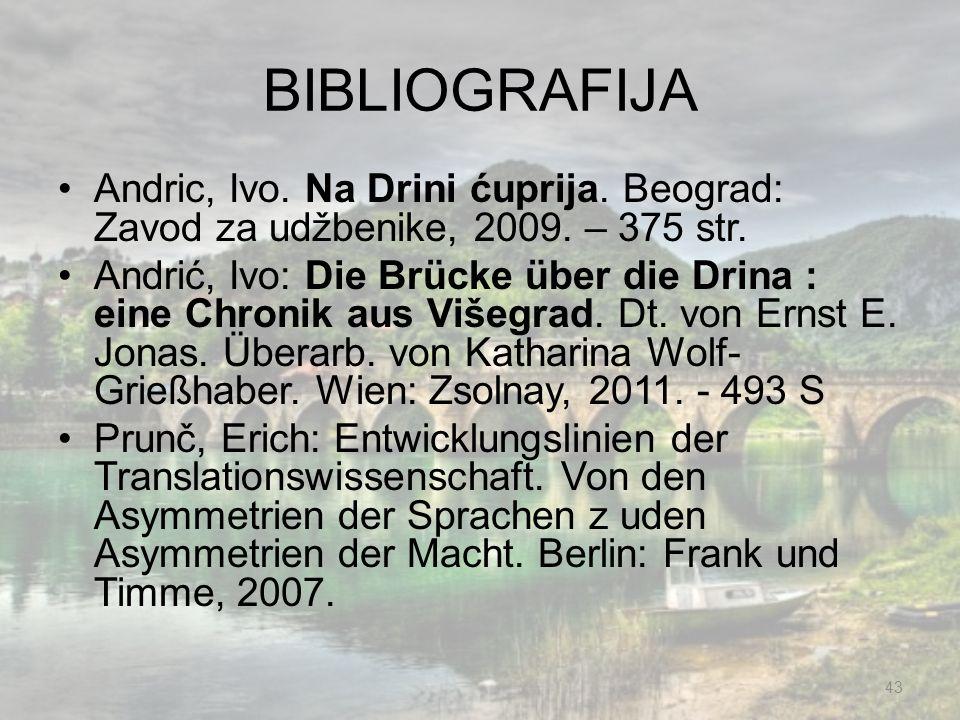 BIBLIOGRAFIJA Andric, Ivo. Na Drini ćuprija. Beograd: Zavod za udžbenike, 2009. – 375 str. Andrić, Ivo: Die Brücke über die Drina : eine Chronik aus V