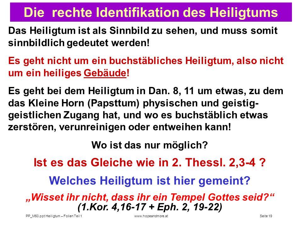 Seite 18 PP_M50.ppt Heiligtum – Folien Teil 1www.hopeandmore.at Frank Holbrook : Biblisches Forschungskommite, GK Die Reinigung des himml. Heiligtums