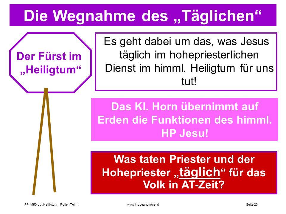 Seite 22 PP_M50.ppt Heiligtum – Folien Teil 1www.hopeandmore.at Das Prinzip der Deutung in Daniel 8 Die Bedeutung der Wegnahme des Täglichen (tamid =