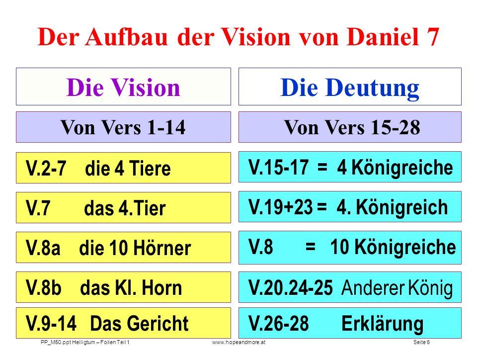 Seite 5 PP_M50.ppt Heiligtum – Folien Teil 1www.hopeandmore.at Die VisionDie Deutung Von Vers 1-14 Von Vers 17-25 Aufbau und Grundstruktur der Vision