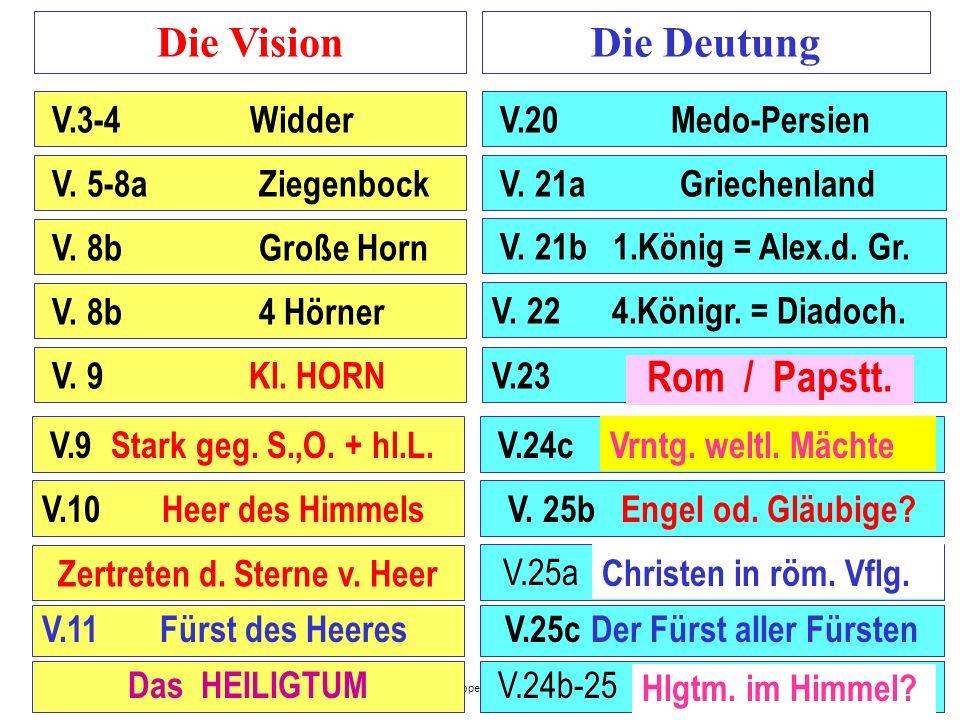 Seite 6 PP_M50.ppt Heiligtum – Folien Teil 1www.hopeandmore.at Die VisionDie Deutung Von Vers 1-14 Von Vers 15-28 Der Aufbau der Vision von Daniel 7 V
