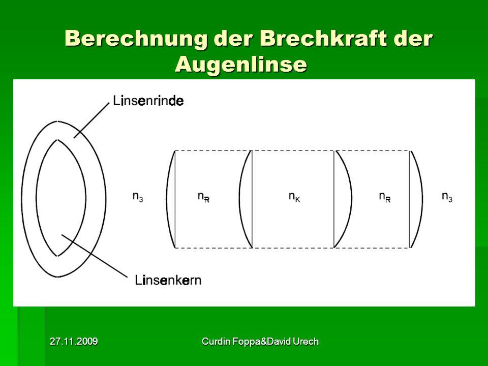 27.11.2009Curdin Foppa&David Urech Berechnung der Brechkraft der Augenlinse