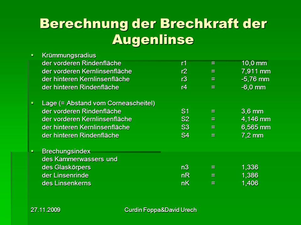 27.11.2009Curdin Foppa&David Urech Berechnung der Brechkraft der Augenlinse Krümmungsradius Krümmungsradius der vorderen Rindenfläche r1= 10,0 mm der