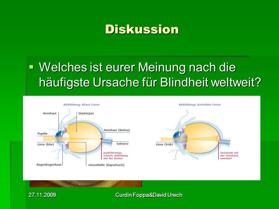 27.11.2009Curdin Foppa&David Urech Diskussion Welches ist eurer Meinung nach die häufigste Ursache für Blindheit weltweit? Welches ist eurer Meinung n