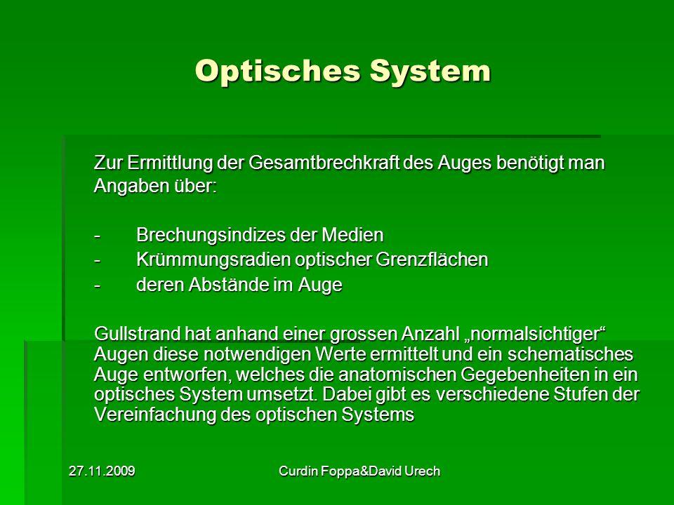 27.11.2009Curdin Foppa&David Urech Optisches System Zur Ermittlung der Gesamtbrechkraft des Auges benötigt man Angaben über: -Brechungsindizes der Med