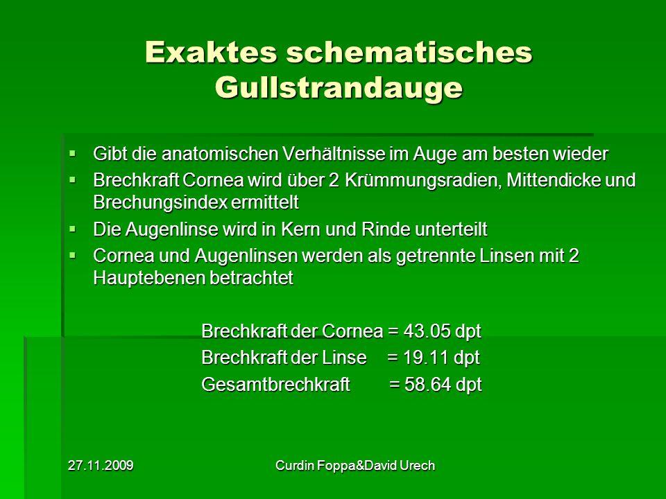 27.11.2009Curdin Foppa&David Urech Exaktes schematisches Gullstrandauge Gibt die anatomischen Verhältnisse im Auge am besten wieder Gibt die anatomisc