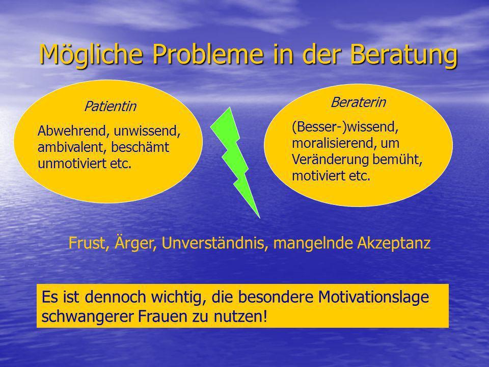 Mögliche Probleme in der Beratung Patientin Abwehrend, unwissend, ambivalent, beschämt unmotiviert etc. Beraterin (Besser-)wissend, moralisierend, um