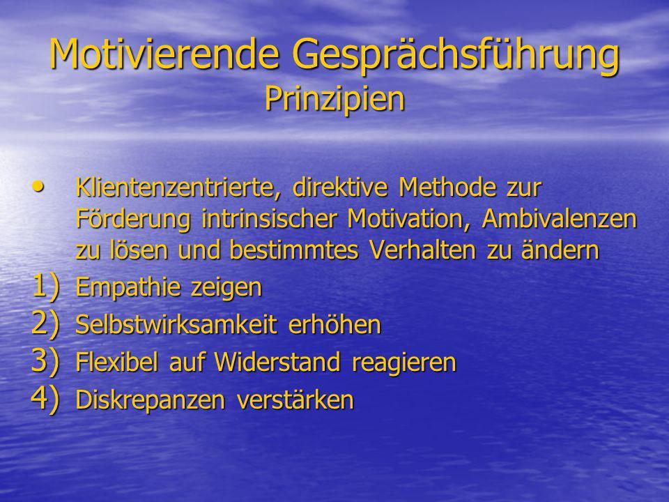 Motivierende Gesprächsführung Prinzipien Klientenzentrierte, direktive Methode zur Förderung intrinsischer Motivation, Ambivalenzen zu lösen und besti