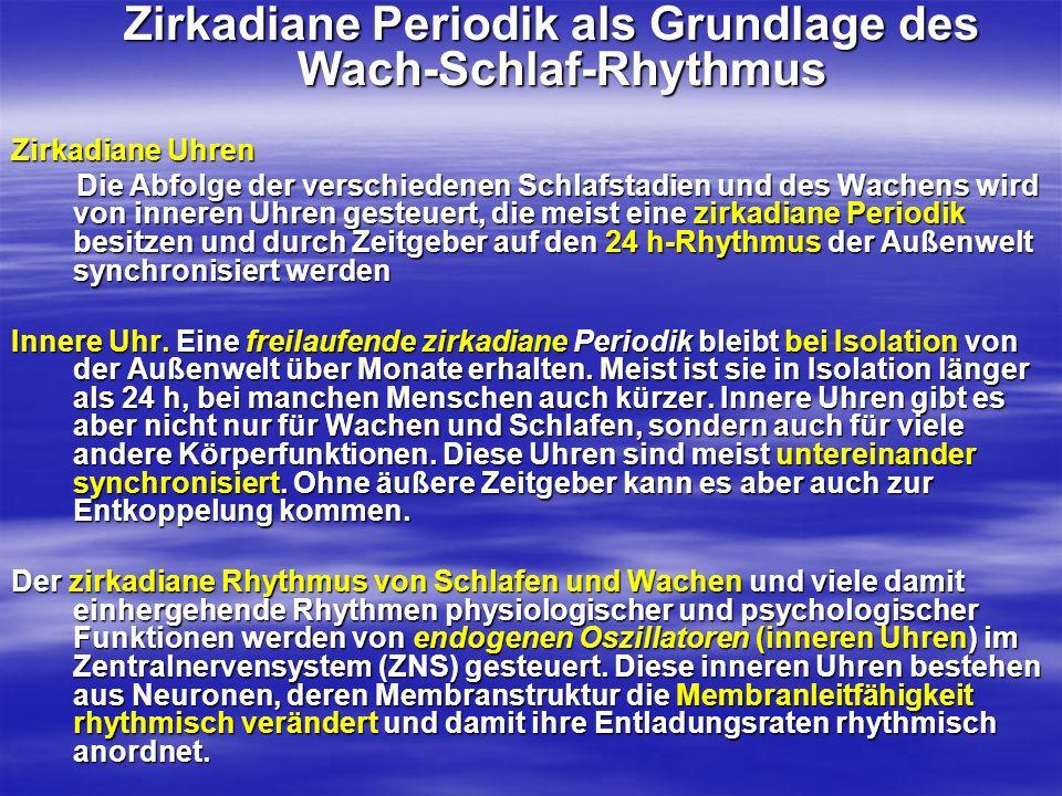 Zirkadiane Periodik als Grundlage des Wach-Schlaf-Rhythmus Zirkadiane Periodik als Grundlage des Wach-Schlaf-Rhythmus Zirkadiane Uhren Die Abfolge der