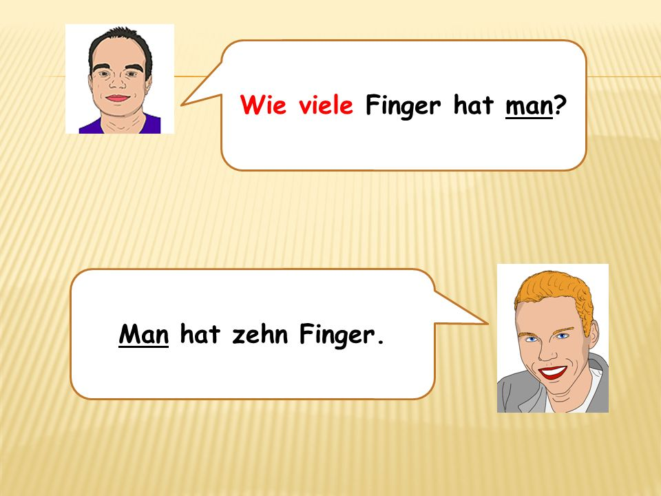 Wie viele Finger hat man? Man hat zehn Finger.
