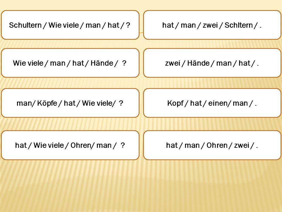 Schultern / Wie viele / man / hat / ? Wie viele / man / hat / Hände / ? man/ Köpfe / hat / Wie viele/ ? hat / Wie viele / Ohren/ man / ? hat / man / z