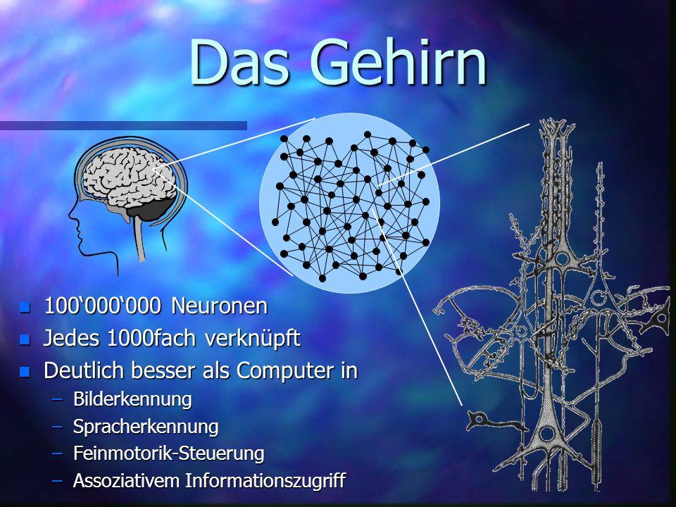 Das Gehirn n 100000000 n 100000000 Neuronen n Jedes n Jedes 1000fach verknüpft n Deutlich n Deutlich besser als Computer in –Bilderkennung –Spracherkennung –Feinmotorik-Steuerung –Assoziativem –Assoziativem Informationszugriff
