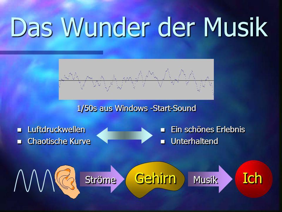 Das Wunder der Musik 1/50s aus Windows -Start-Sound GehirnGehirnIchIch StrömeStrömeMusikMusik n Luftdruckwellen n Chaotische Kurve n Luftdruckwellen n Chaotische Kurve n Ein schönes Erlebnis n Unterhaltend n Ein schönes Erlebnis n Unterhaltend
