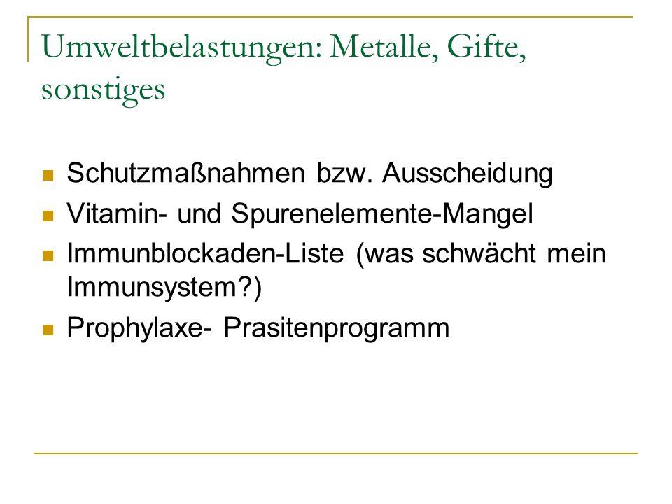 Umweltbelastungen: Metalle, Gifte, sonstiges Schutzmaßnahmen bzw. Ausscheidung Vitamin- und Spurenelemente-Mangel Immunblockaden-Liste (was schwächt m